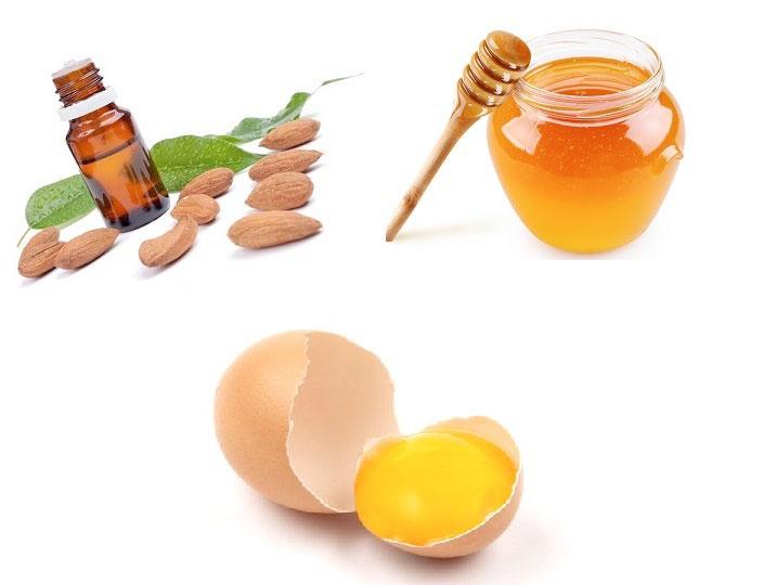 Mặt nạ trứng gà + mật ong + dầu hạnh nhân