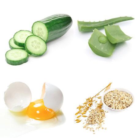 lô hội, lòng trắng trứng, dưa chuột, bột yến mạch