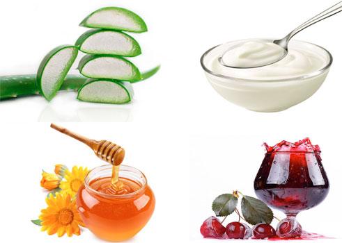lô hội, sữa chua, mật ong, nước nho